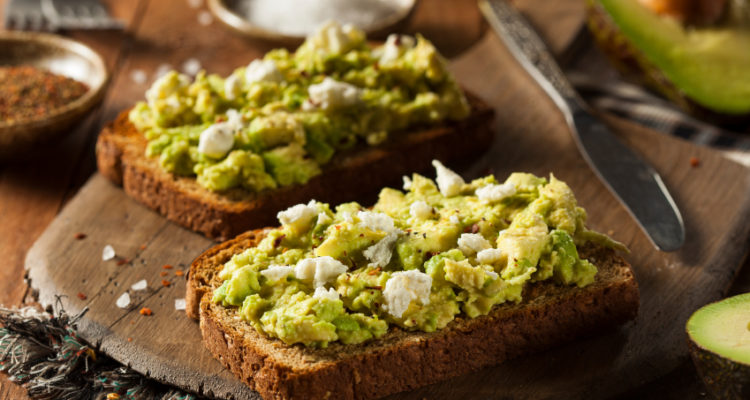 Healthy Homemade Avocado Toast with Salt and Feta