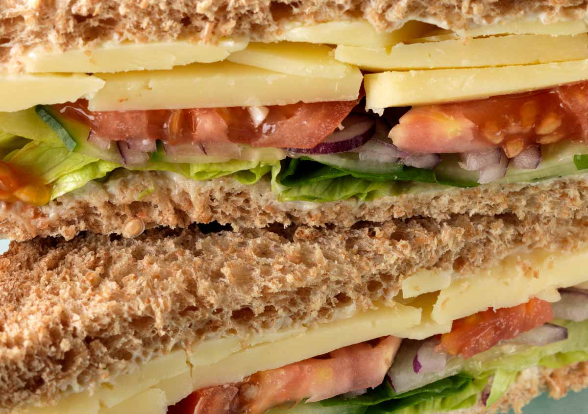 Cheese sandwich with tomato lettuce cucumber